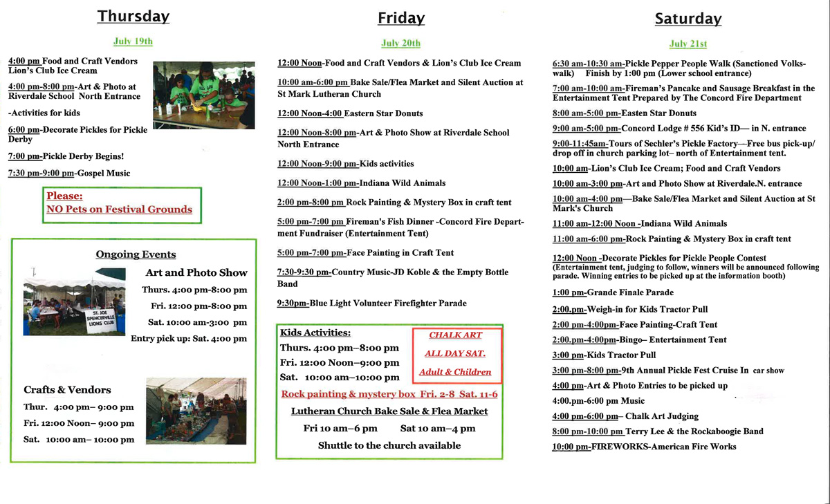 2018 St. Joe Pickle Festival Schedule of events